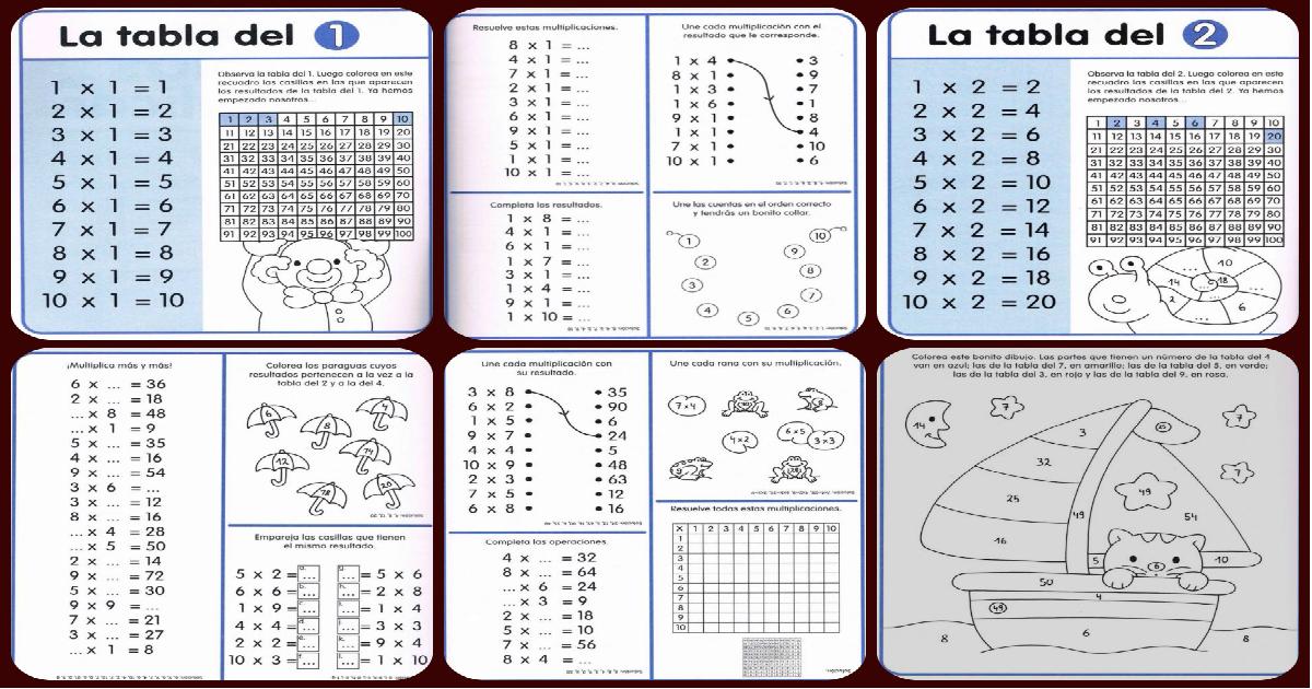 cuaderno de repaso tablas de multiplicar tablas poster