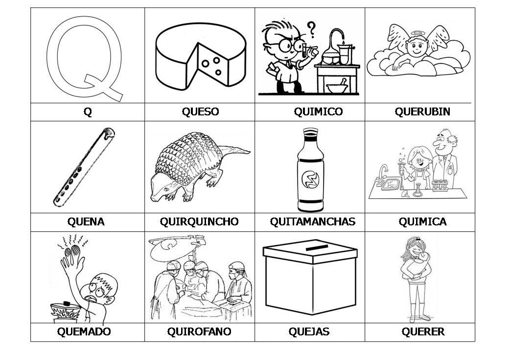 Dibujos Para Colorear Letra Q: El Abecedario De Los Objetos Listo Para Imprimir (20