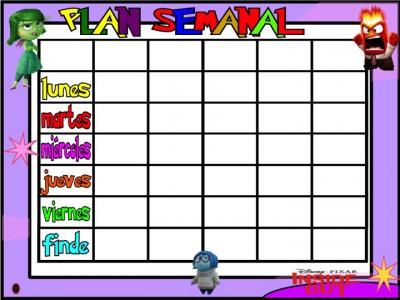 PLanificadores semanales 5 tareas INSIDE OUT Inicio de Curso 2