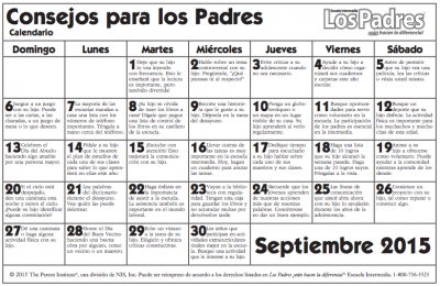 Calendario con actividades Septiembre para hacer con nuestros hijos e hijas PRIMARIA ULTIMOS CURSOS 2