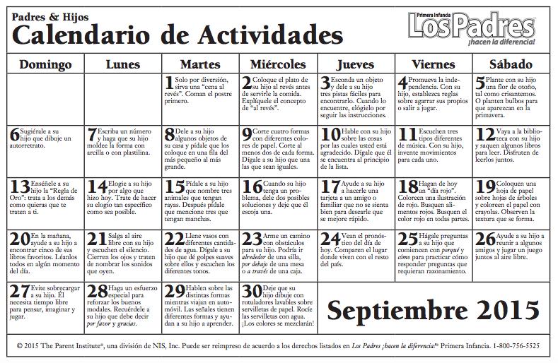 Calendario con actividades para hacer con nuestros hijos e hijas más ...