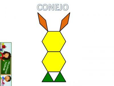 Trabajamos la atención con Pattern Block Mats o Teselas de colores CONEJO