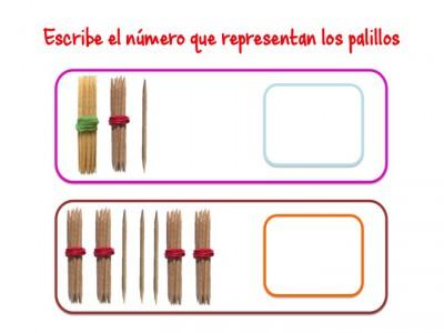 ABN Escribe el número que representan los palillos centenas 10