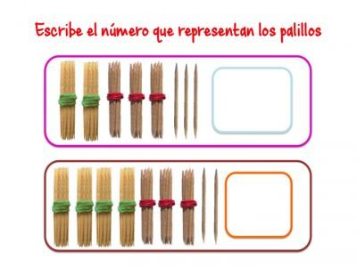ABN Escribe el número que representan los palillos centenas 9