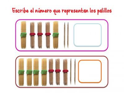 ABN Escribe el número que representan los palillos unidades de millar13