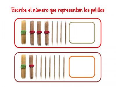 ABN Escribe el número que representan los palillos unidades de millar7