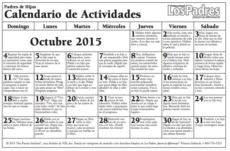 Calendario con actividades Octubre para hacer con nuestros hijos e ...