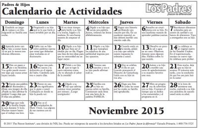 Primaria Calendario con actividades Noviembre para hacer con nuestros hijos e hijas actividades