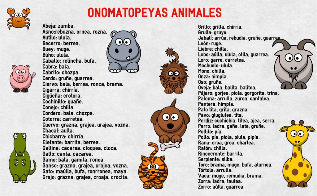 onomatopeyas animales su nombre -Orientacion Andujar