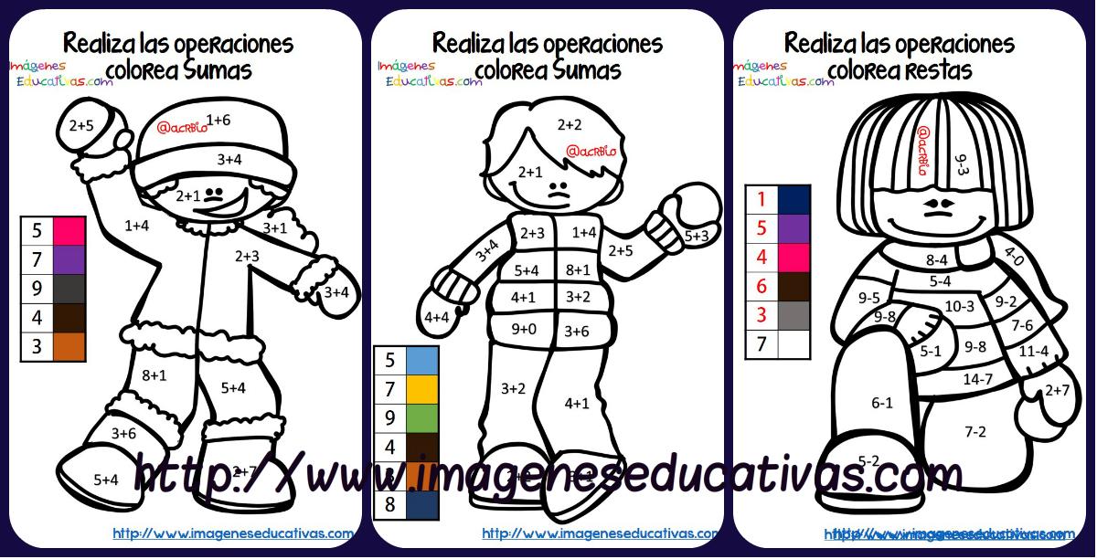 Fichas colorear sumas y restas portada   Orientación Andújar