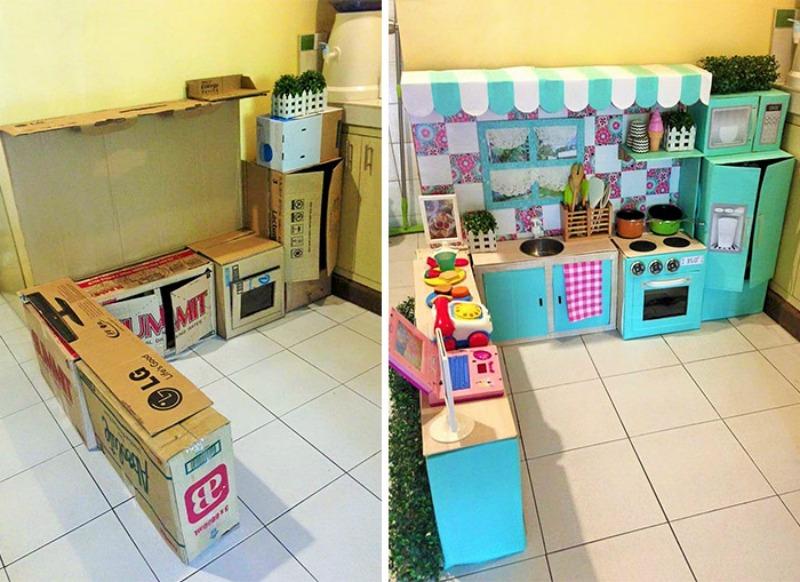 Alucinante cocina para hecha solo con cartones reciclado y for Como hacer mi cocina