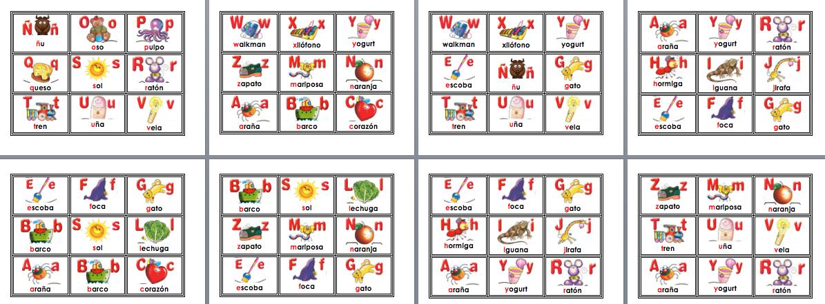 Increible loter a bingo de abecedario para primer y for Tapete en ingles