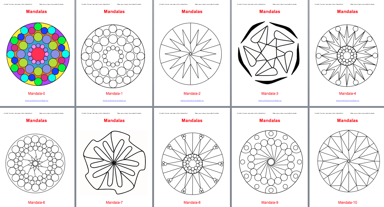 Dibujos Varios Para Colorear: Colección De Mandalas Para Colorear -Orientacion Andujar