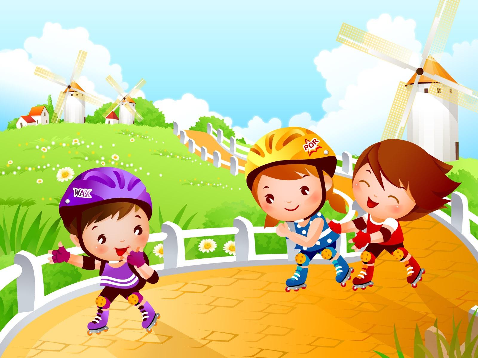L minas coloridas para trabajar vocabulario atenci n - Dibujos infantiles de ninos jugando ...
