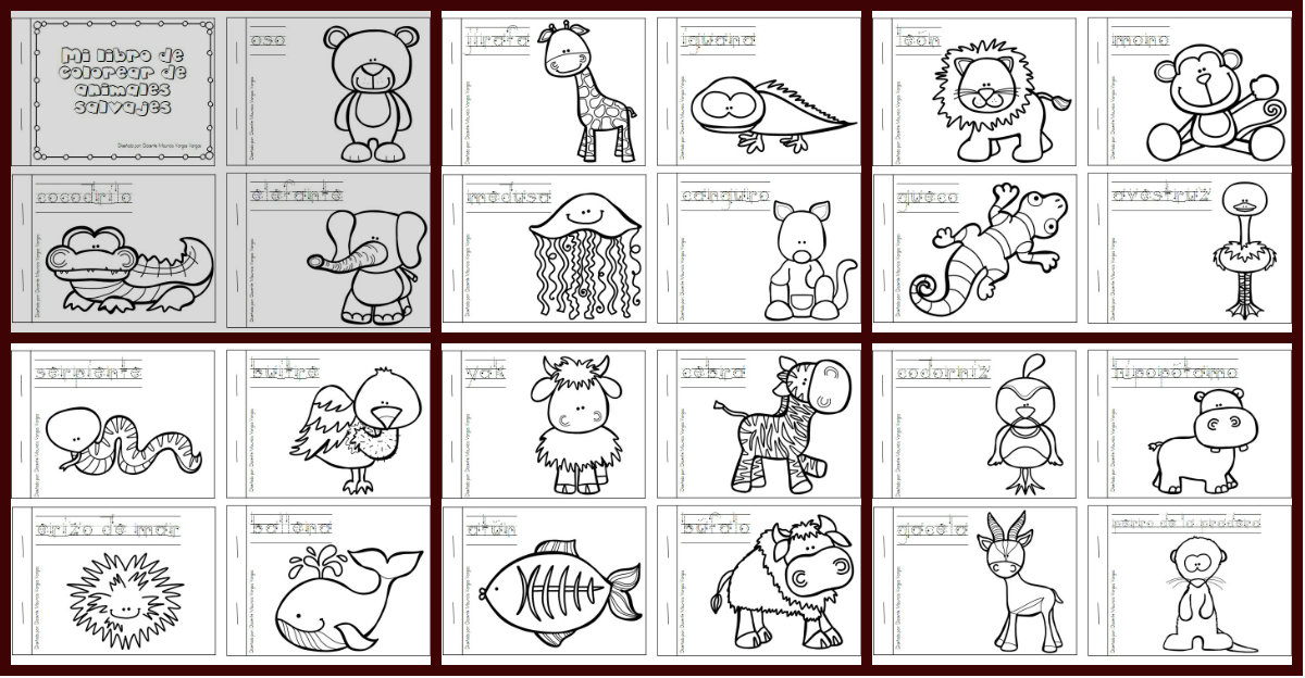 Mi libro de colorear de animales salvajes PORTADA - Orientación ...
