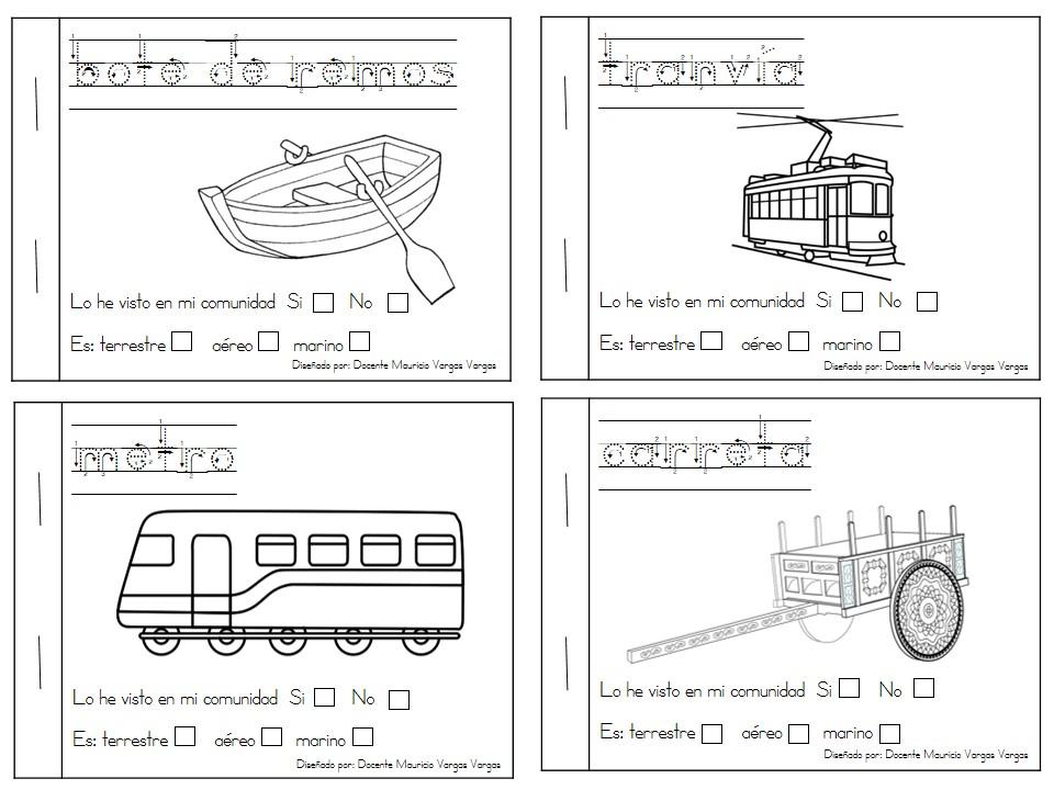 Libritos divertidos de medios de transporte para colorear ...