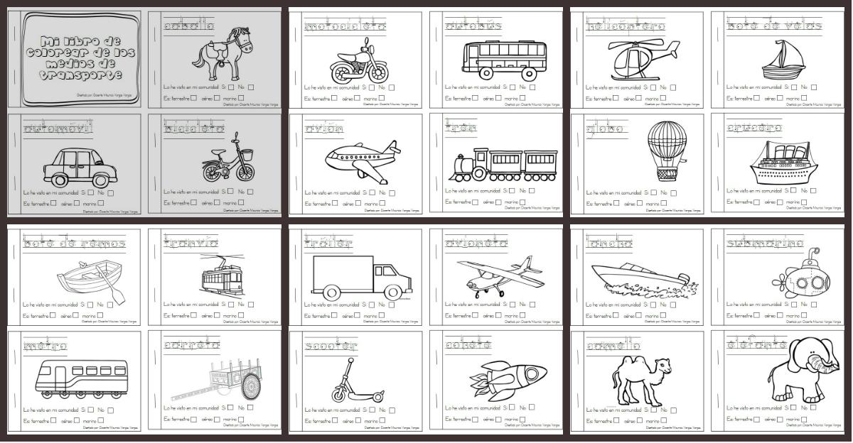 Dibujos Divertidos Para Colorear: Libritos Divertidos De Medios De Transporte Para Colorear