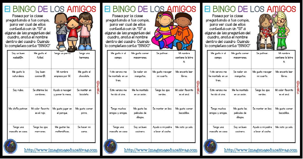 Actividad Para Iniciar El Curso El Bingo De Los Amigos