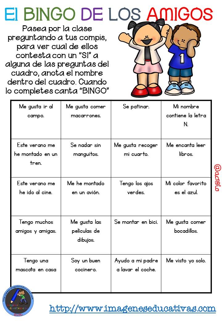 Actividad para los primeros d as de clase el bingo de los for Actividades para el primer dia de clases en el jardin