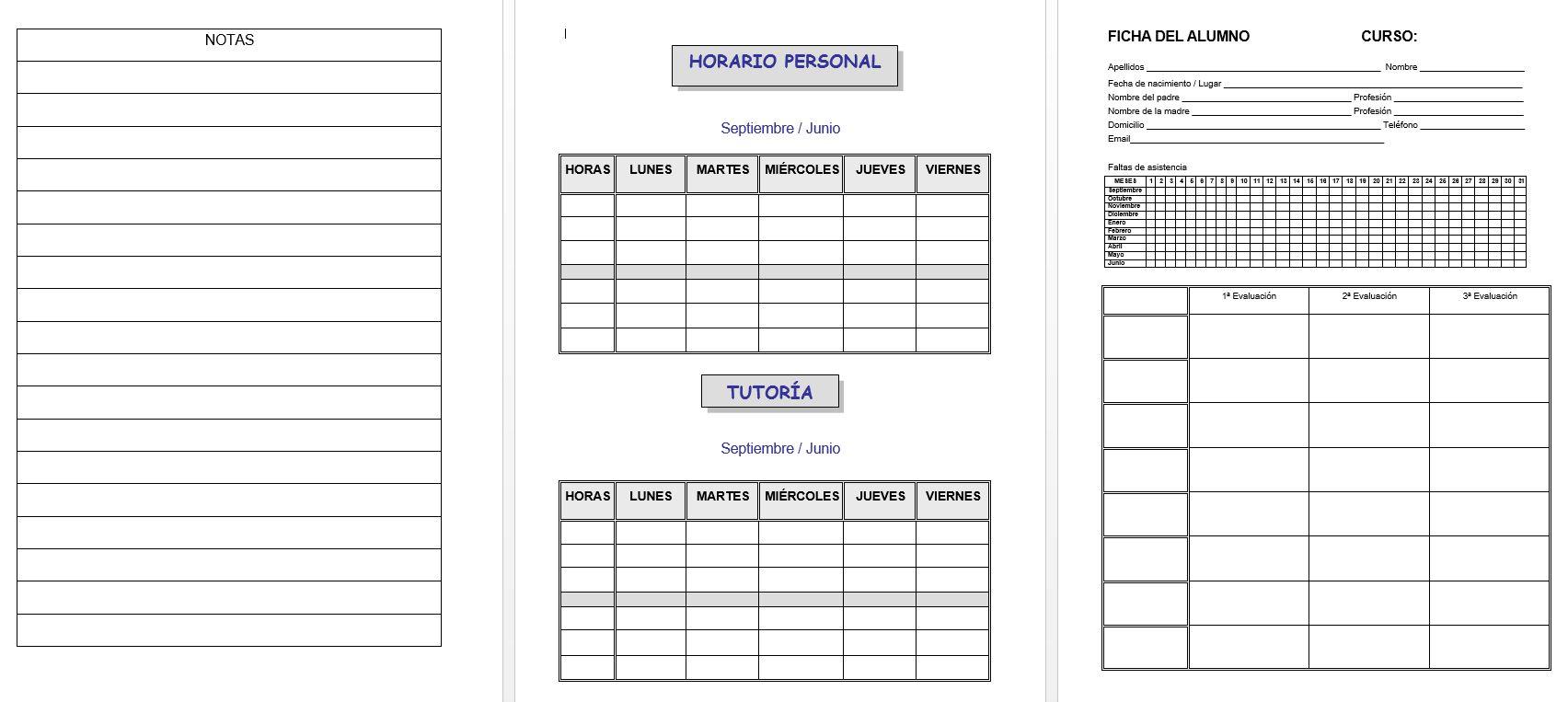 editable cuaderno de trabajo  memonotas  registros de
