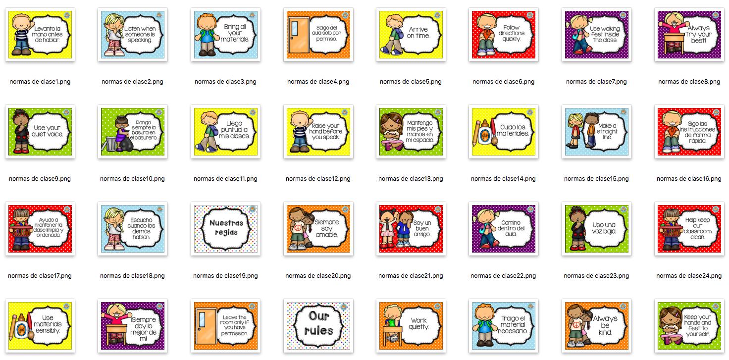 Nuestras normas de clase en divertidas l minas for 10 reglas del salon de clases en ingles