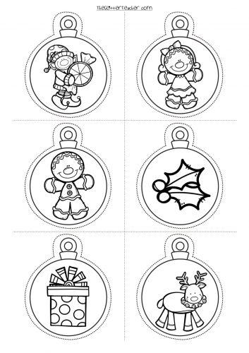 Decora tu clase divertidas bolas de navidad para imprimir for Adornos navidenos para colorear y recortar