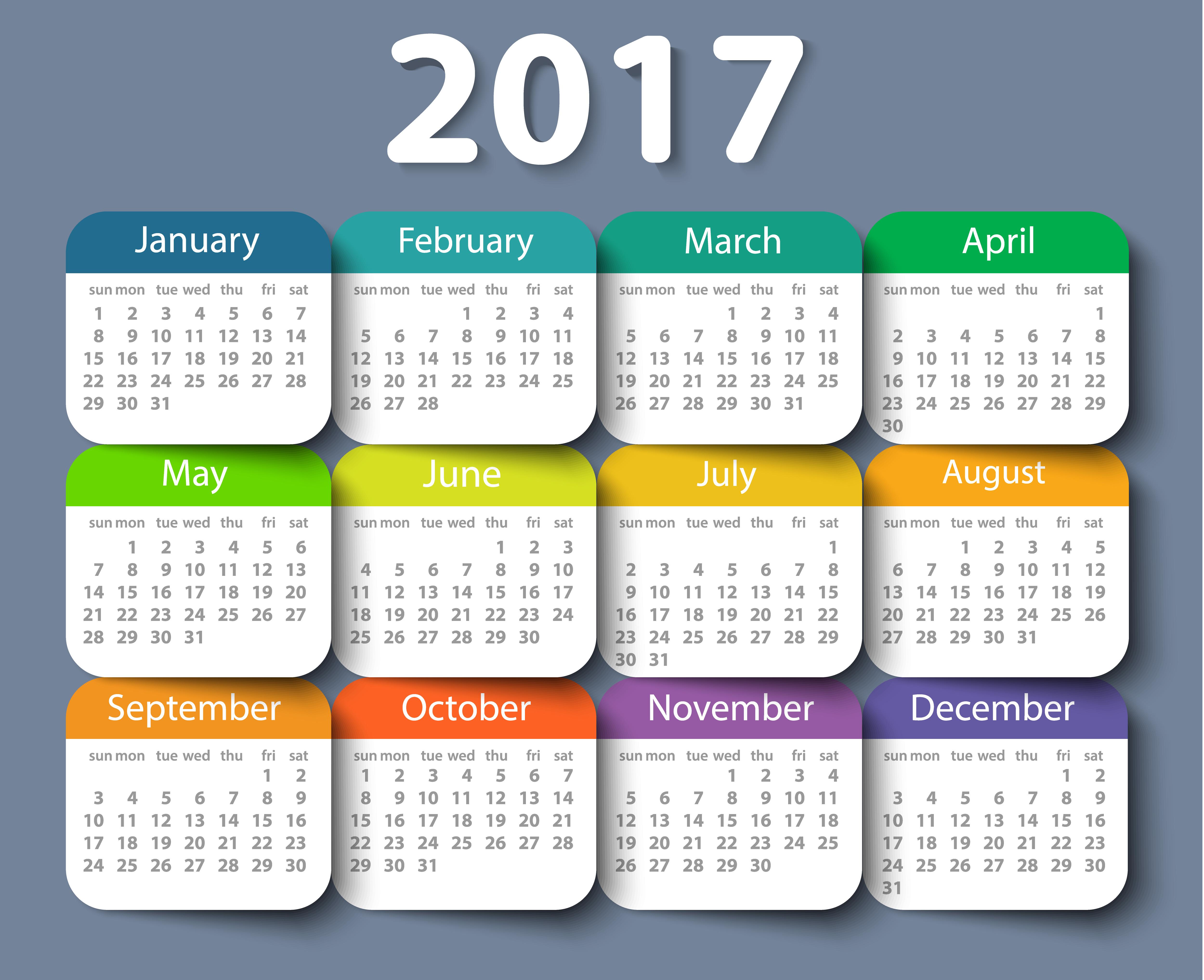 Calendar 2017 year vector design template. - Orientación ...