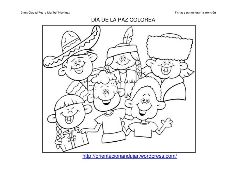 Colorea Dia De La Paz Fichas 1 55 Orientación Andújar