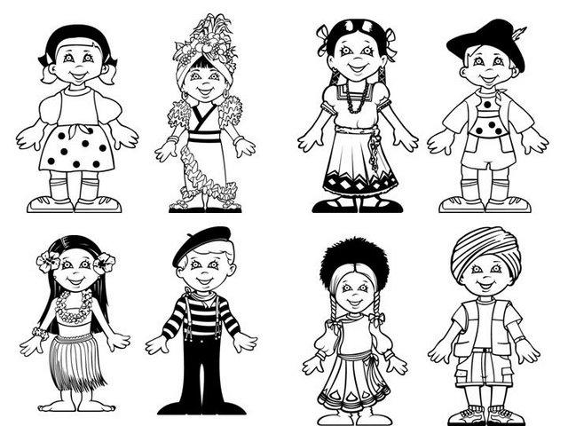 Dibujo De Nacionalidades Para Colorear: Colorear Chicos Y Chicas Del Mundo13
