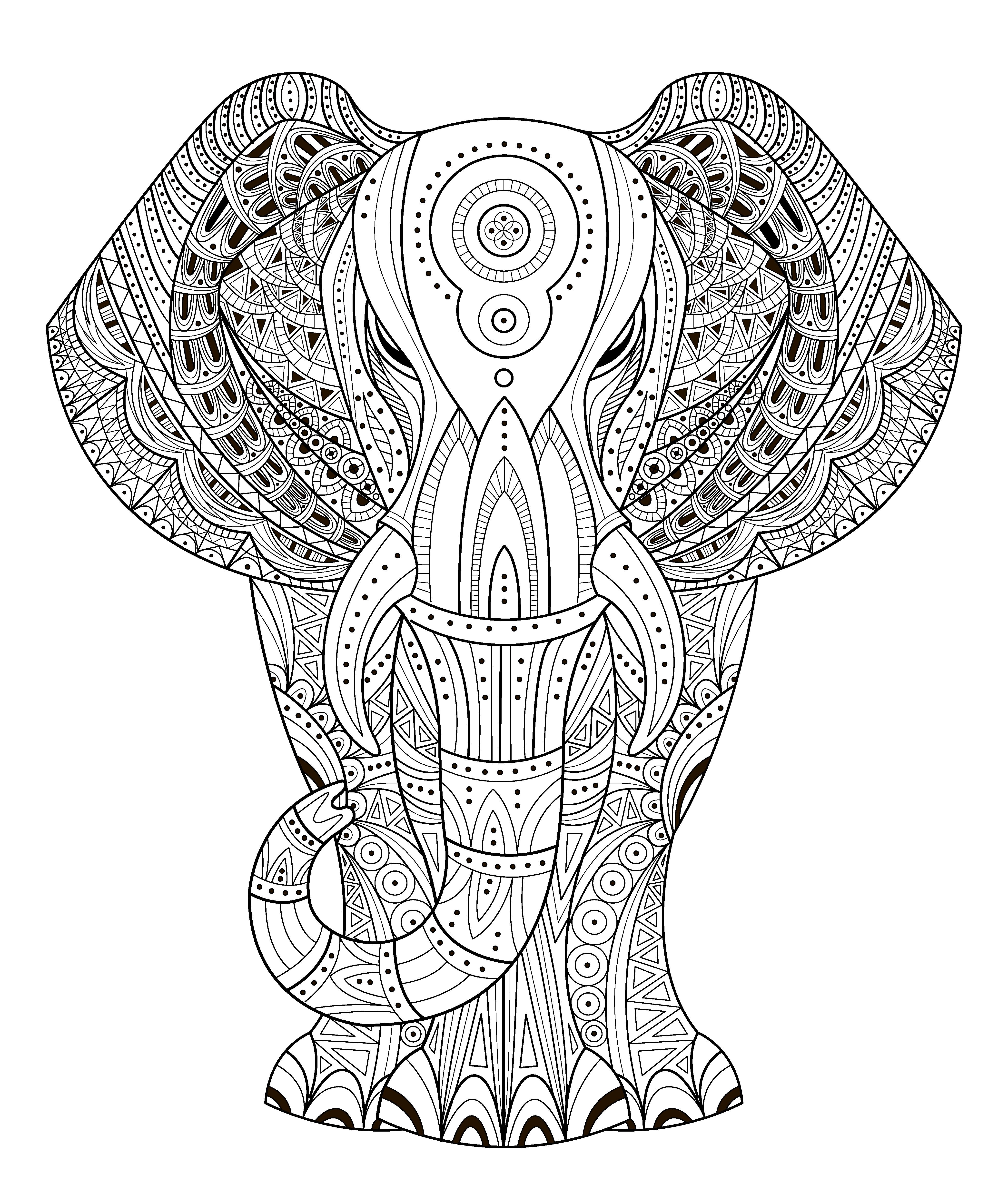 elephant vector illustration in zentangle style  hand