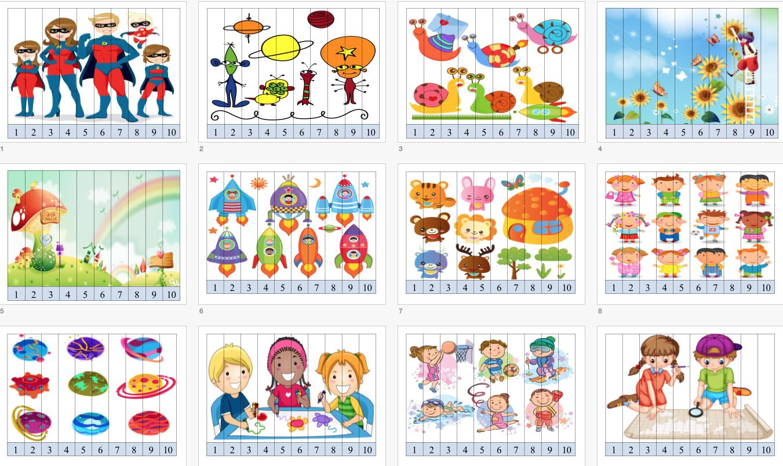 Puzzles De Números 1 Al 10 Con Imágenes Divertidas Orientación