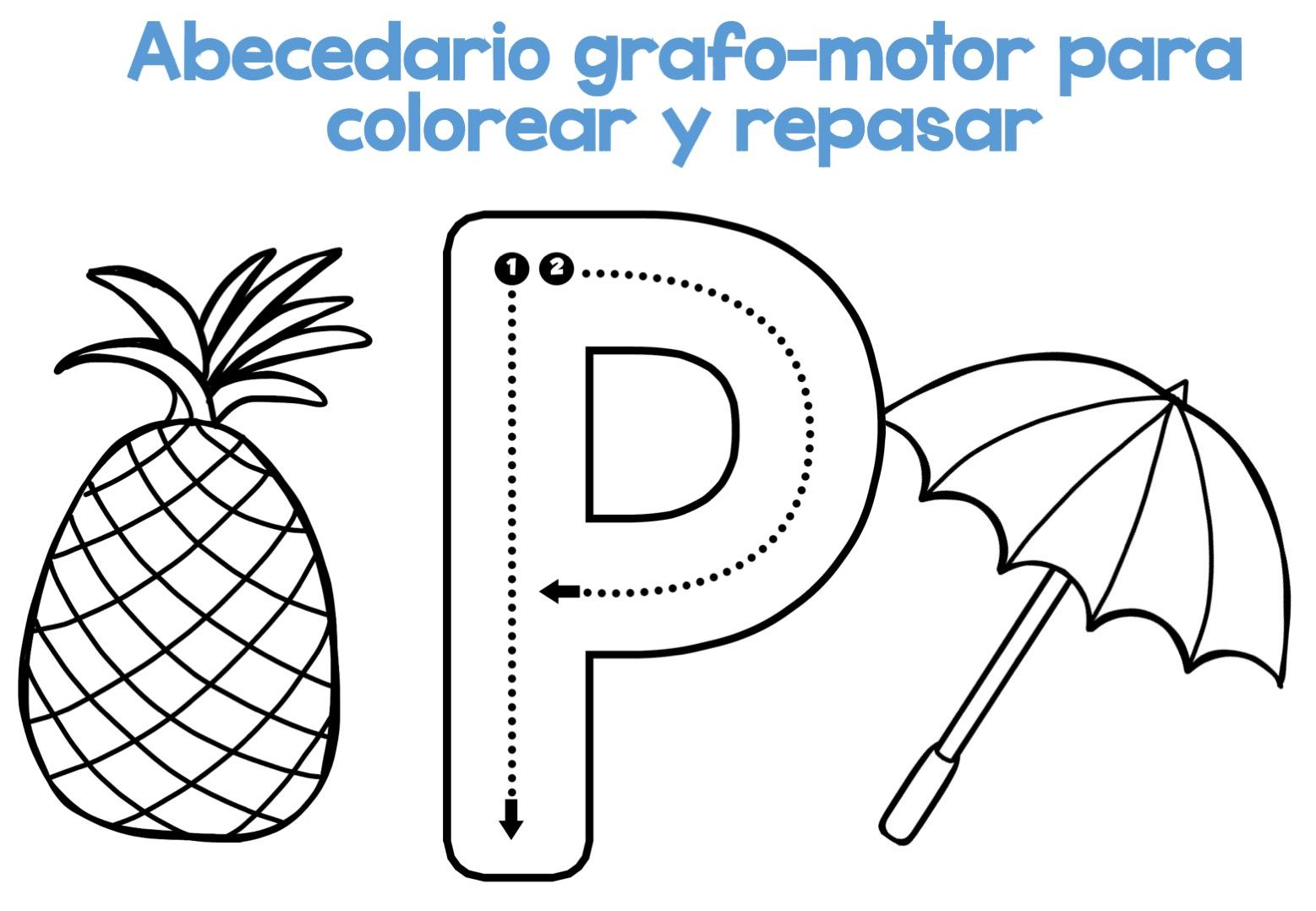 Alfabeto Para Colorear: Completo Abecedario Grafo-motor Para Colorear Y Repasar17