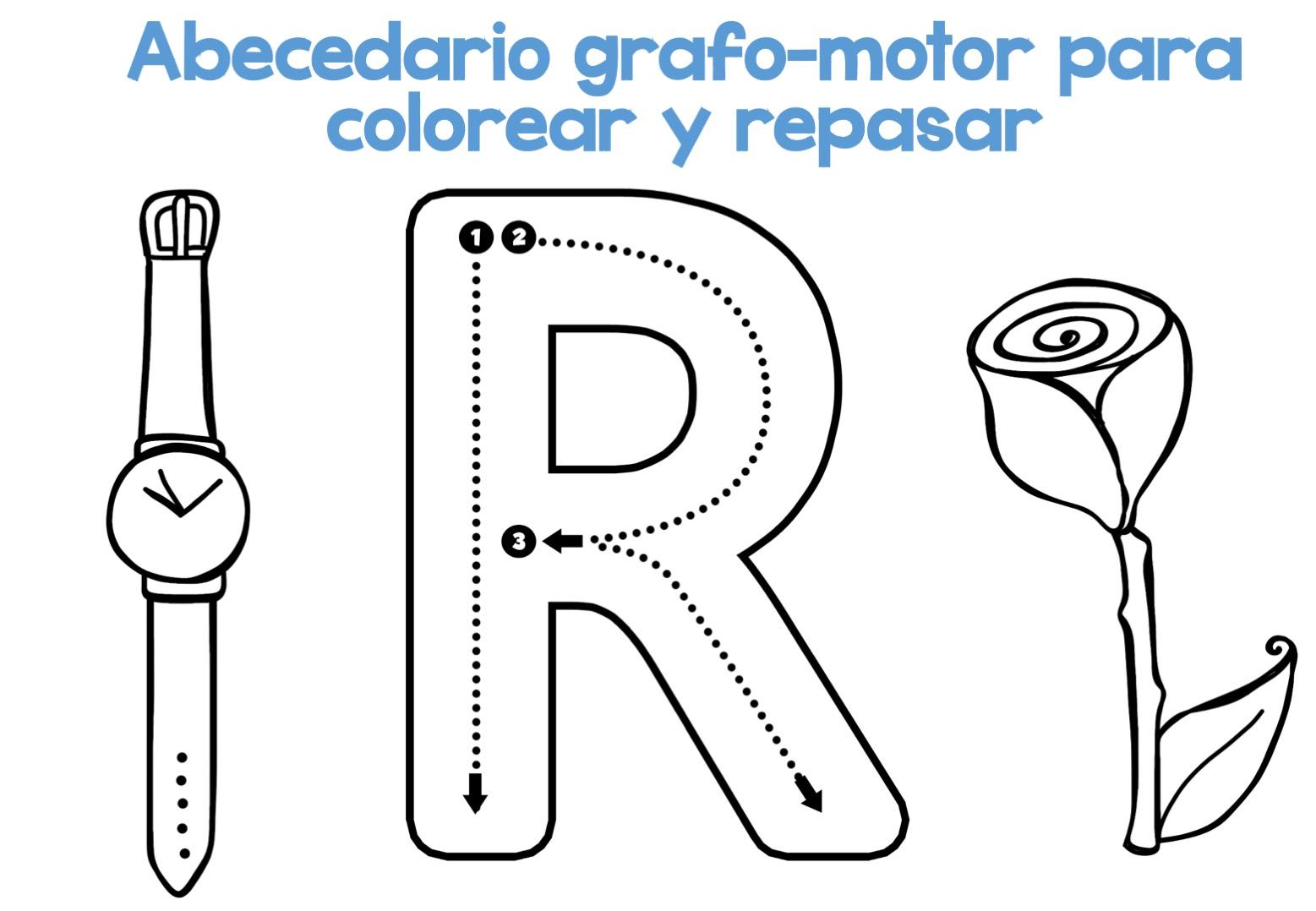 Abecedario Para Imprimir Y Colorear: Completo Abecedario Grafo-motor Para Colorear Y Repasar19