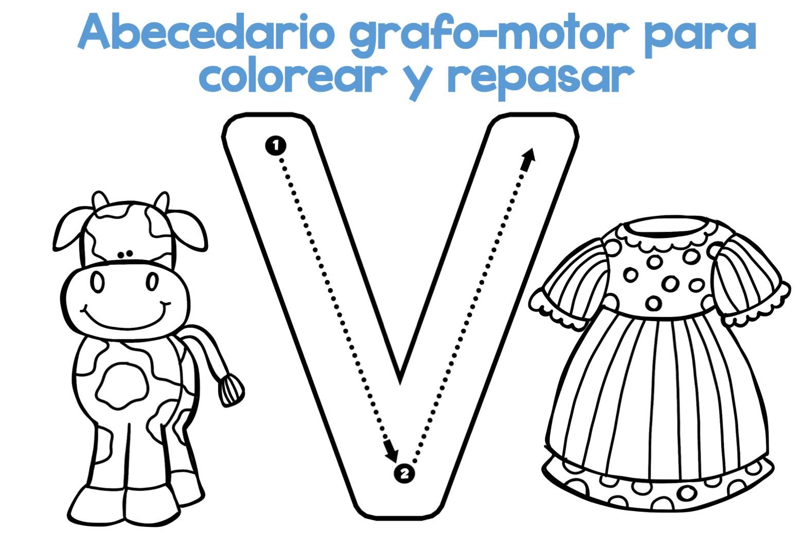 Fichas Del Abecedario Para Colorear Niños De Infantil Y: Completo Abecedario Grafo-motor Para Colorear Y Repasar23