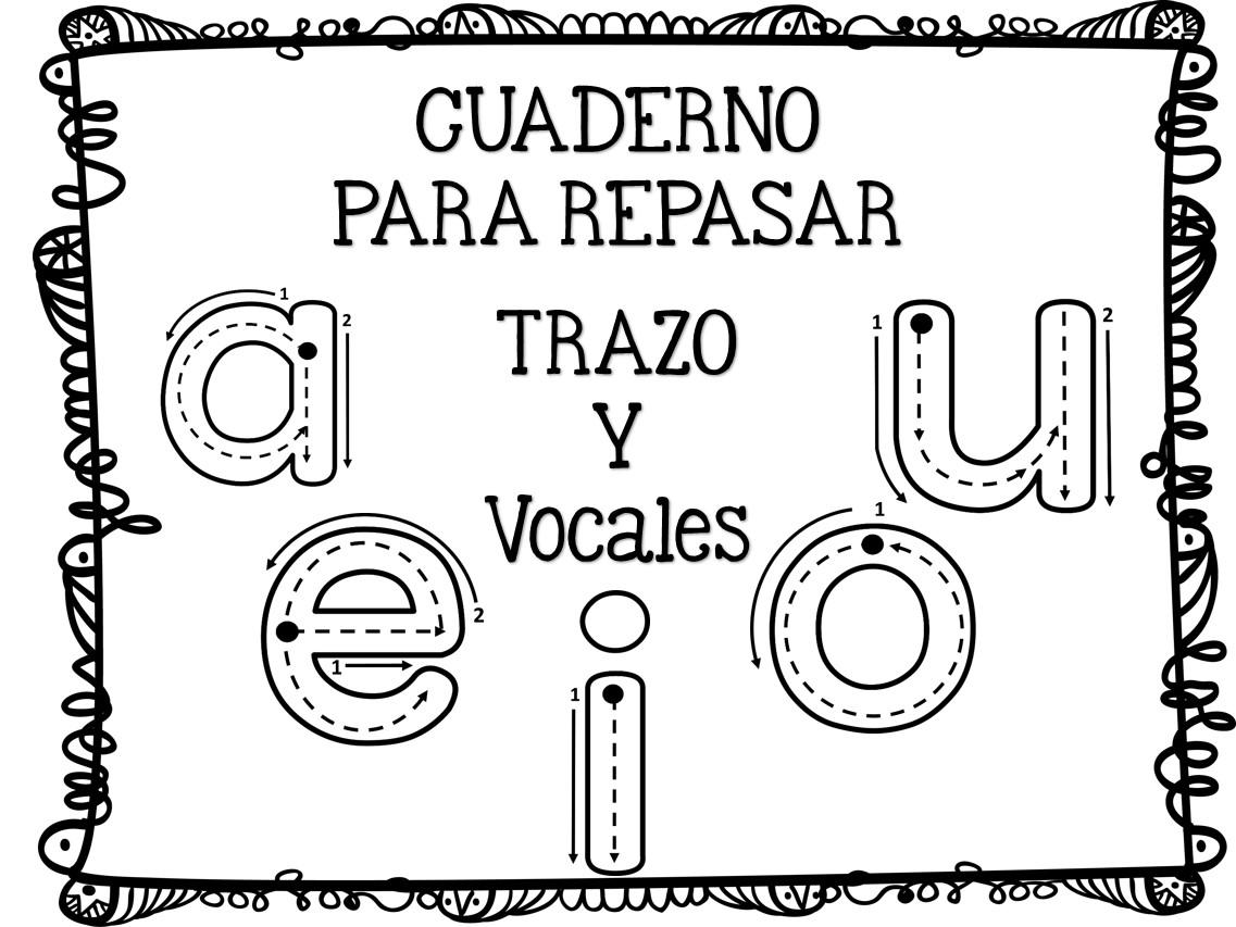 Fichas de trazo y grafomotricidad para las vocales en for Aeiou el jardin de clarilu mp3