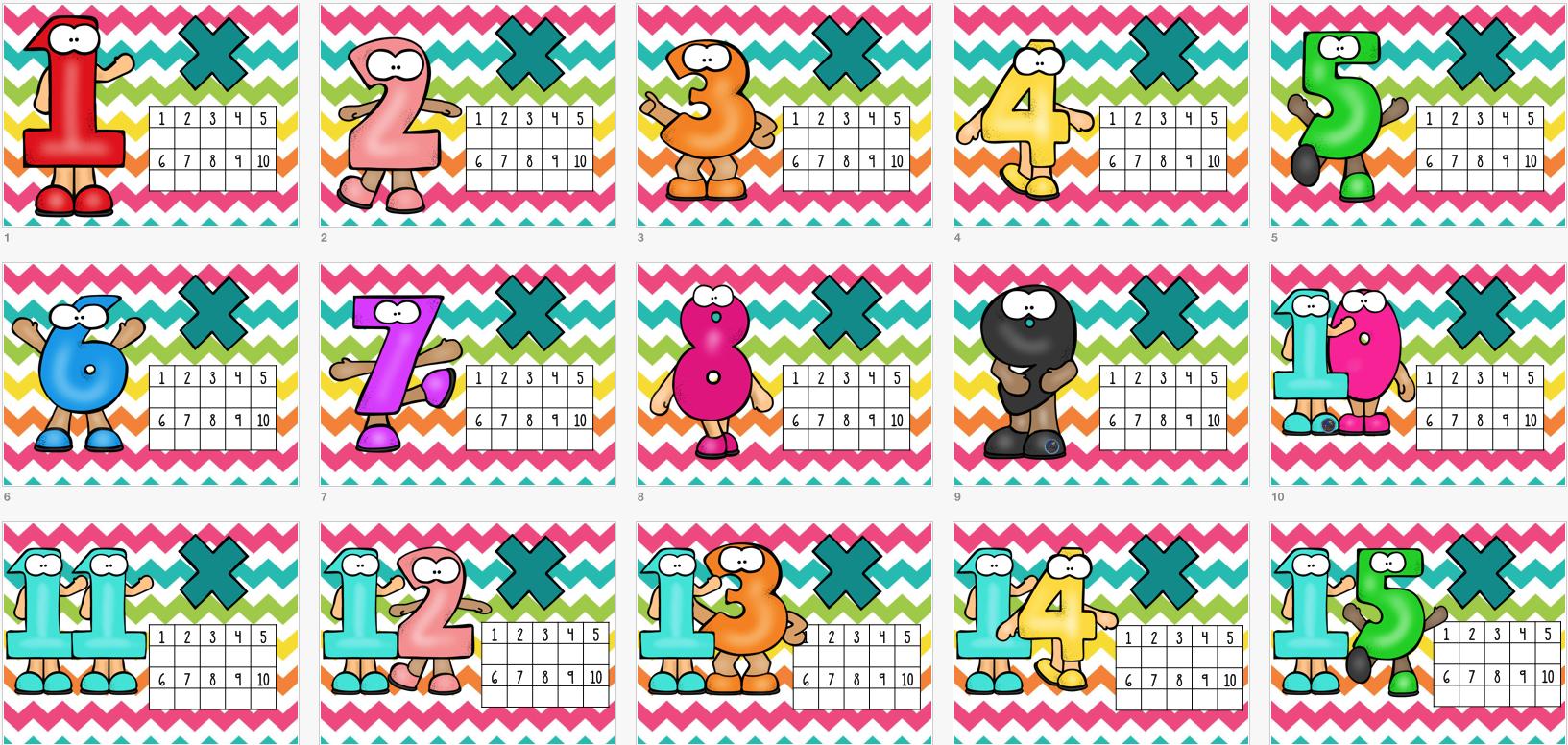 tarjetas para repasar las tablas de multiplicar del al orientacion andujar