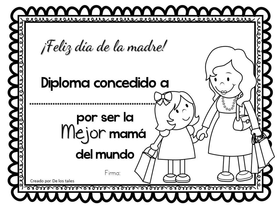 Diploma Dia De La Madre Para Colorear Diploma del Día de la Madre ...
