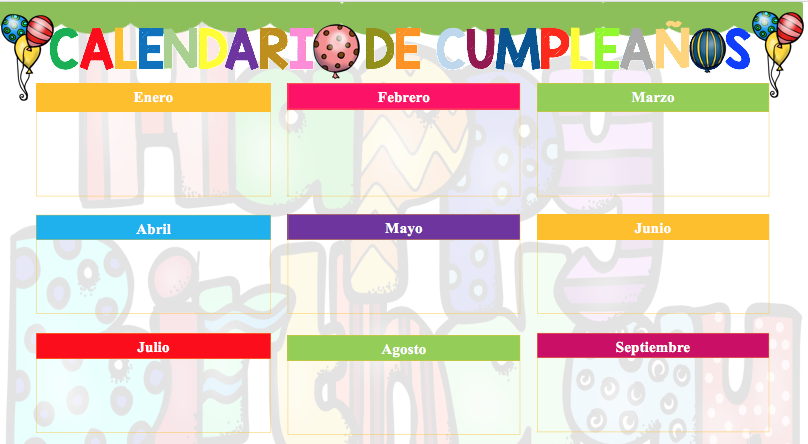 formatos de calendarios