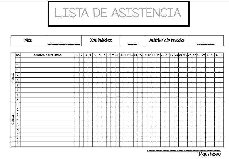 dos listas de control asistencia editables en power point y pdf