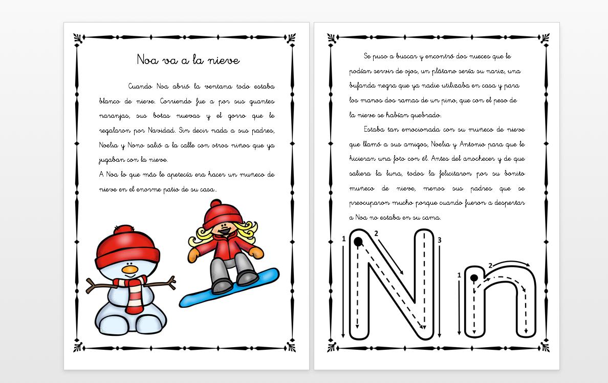 """Cuentos Con Fonemas La Letra """"N"""" Noa Va A La Nieve"""