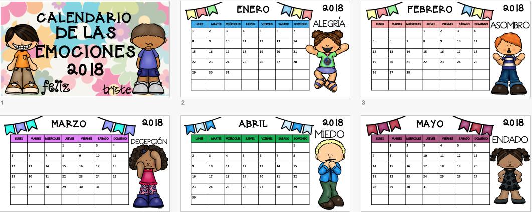Calendario Para Ninos De Kinder.Calendario 2018 Editable Trabajamos Las Emociones