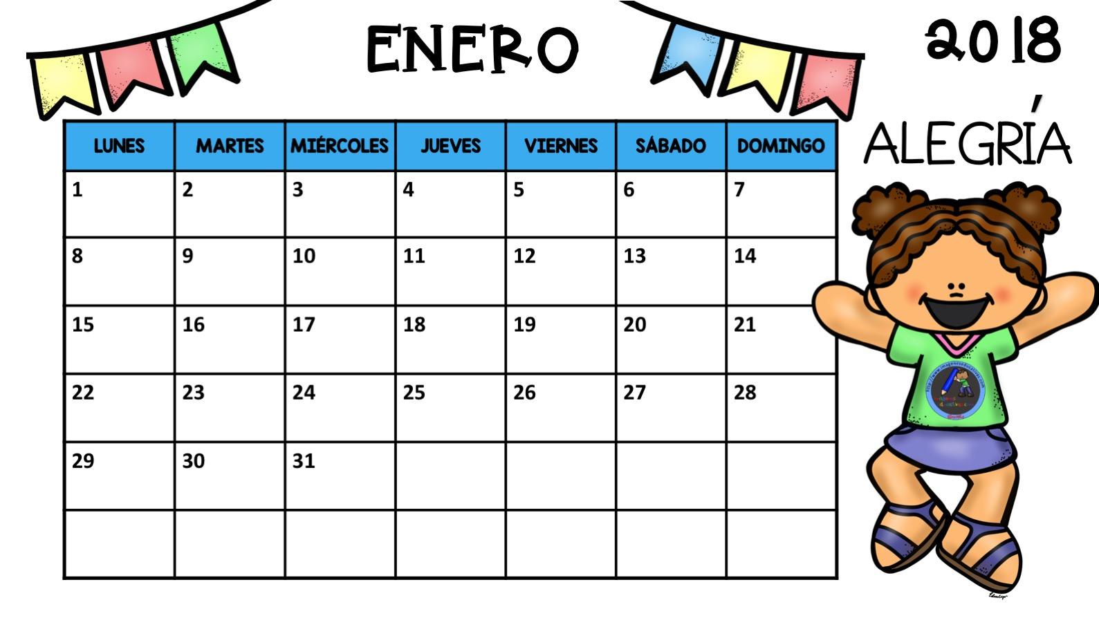 Calendario 2018 EDITABLE Trabajamos Las Emociones2