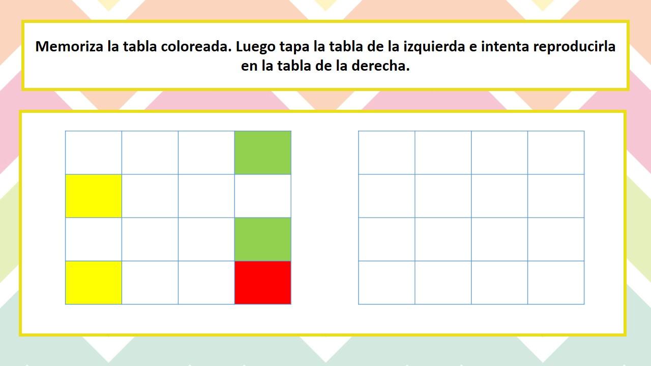 Trabajamos La Memoria Visual Secuencial Mediante Tablas De Colores