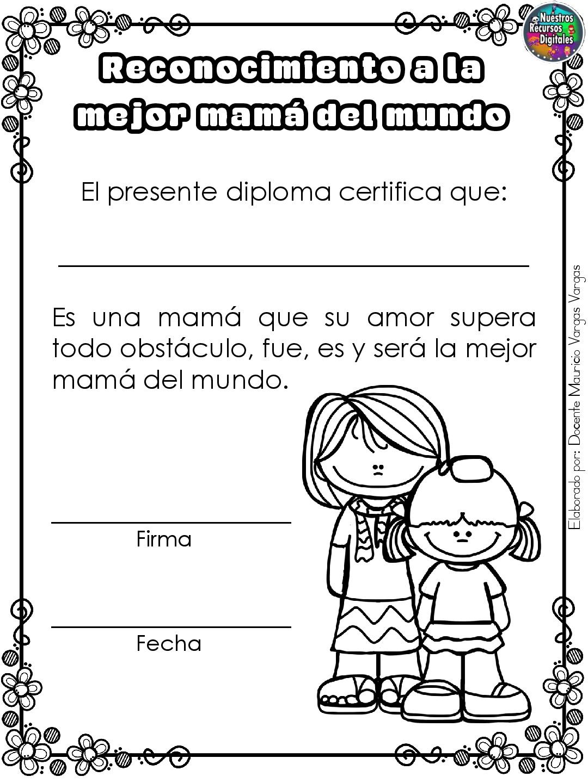 Diplomas Para Colorear Y Dar El Dia De Las Madres 001