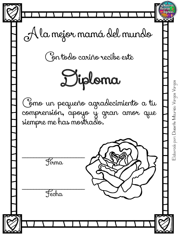 Diplomas Para Colorear Y Dar El Dia De Las Madres 003