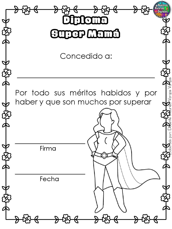 Diplomas Para Colorear Y Dar El Dia De Las Madres 005