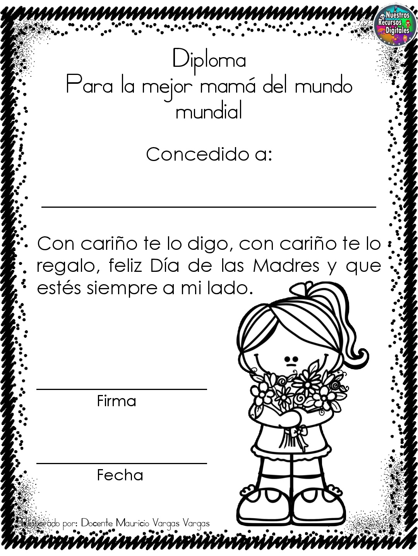 Diplomas Para Colorear Y Dar El Dia De Las Madres 006