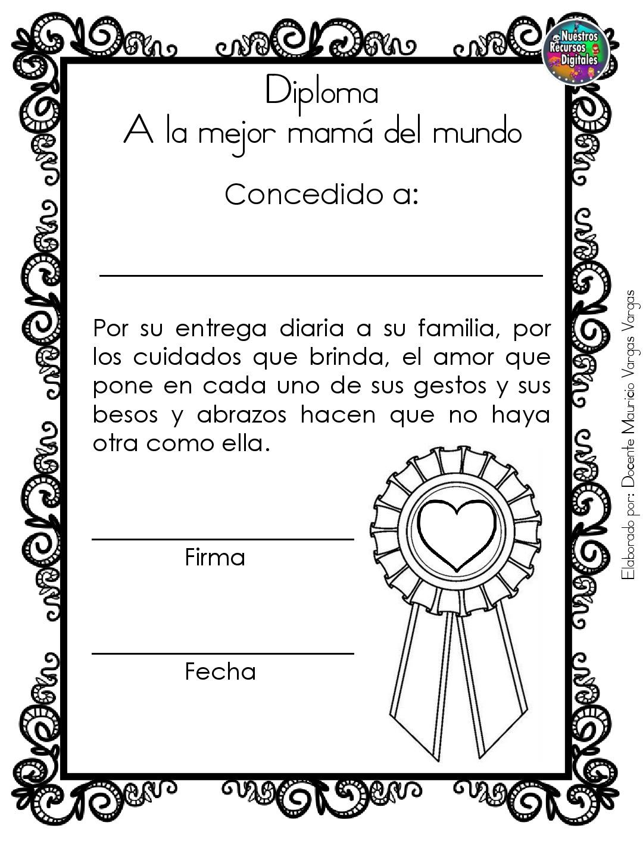 Diplomas Para Colorear Y Dar El Dia De Las Madres 008