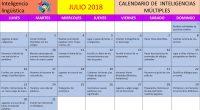Os hemos preparado este calendario de inteligencias múltiples para trabajar la inteligencia lingüística durante el mes de julio, espero que os guste.