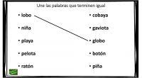 El siguiente ejercicio de conciencia fonológica consiste en unir las palabras de las dos columnas que terminen igual.